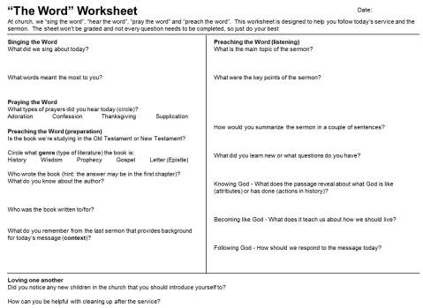 Children's sermon worksheet